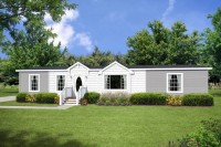 A photo of the front of a white and gray three bedroom double-wide manufactured home.